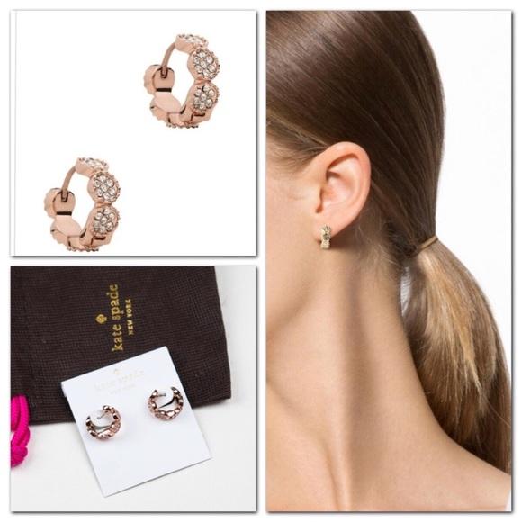 3cb374865ce6d Kate Spade Gatsby Huggies Hoop Earrings Rose Gold NWT